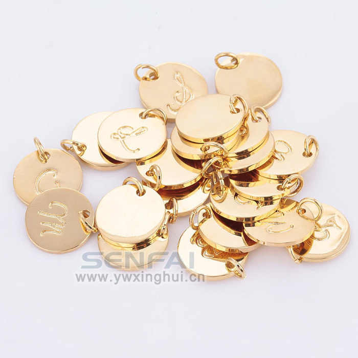 Pick 10 pcs from 16MM A-Z Gold Color Disc Charm Hand Stamped Initial Charms Alphabet Letter Charms Tag Pendant for DIY Jewelry