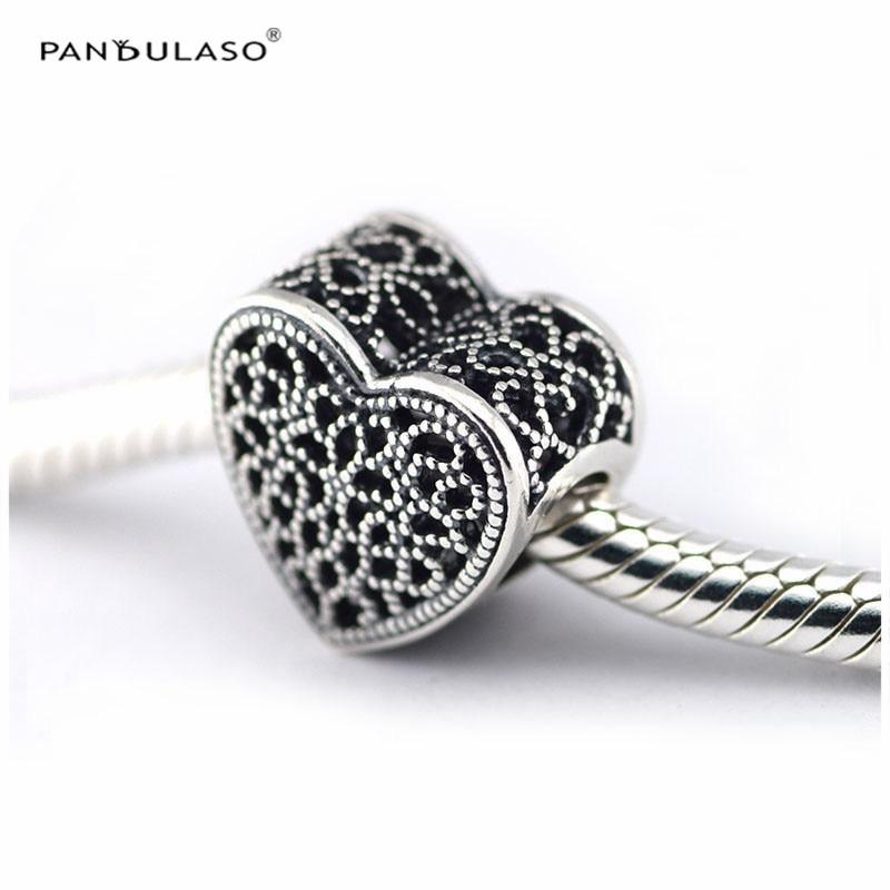 Pandulaso Neue Valentinstag Silber 925 Schmuck Gefüllt mit Romantik Herz Perlen Fit DIY Charme Armbänder für Frauen Vintage perle