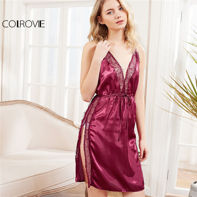 25e758bcf48b COLROVIE 2018 Summer Sleeveless Plain Nightgowns Burgundy Contrast Lace  Criss Cross Back Split Dress Women Sexy Sleepwear