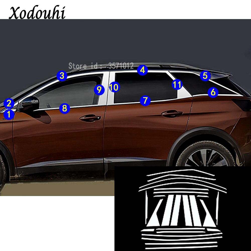 Pour Peugeot 3008 GT 3008GT 2016 2017 2018 car styling acier inoxydable garnir pilier fenêtre moyen bande garniture cadre lampe capot