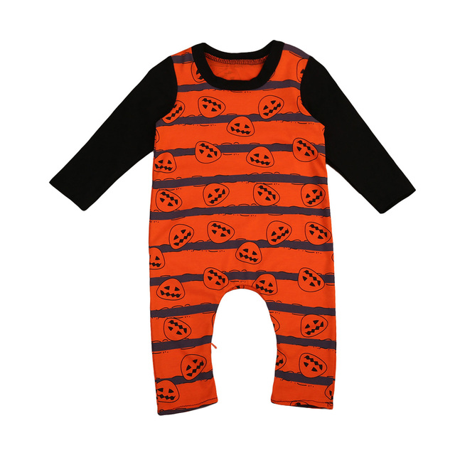2017 newborn baby boy clothes long sleeve halloween costume pumpkin romper jumpsuit outfits - Baby Boy Halloween Costumes 2017