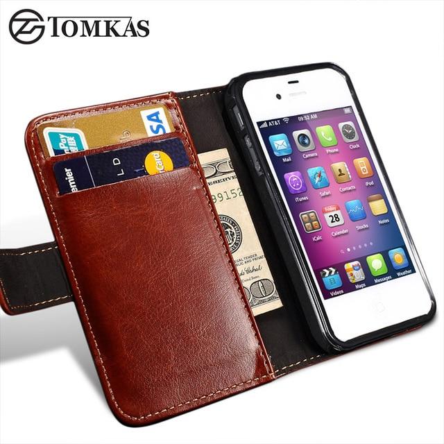 Tomkas 4S флип бумажник pu leather case for iphone 4 4s крышки старинные роскошные я телефон сумка для apple iphone 4s с держателей карт