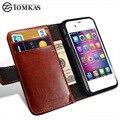 Tomkas 4S cubierta tirón de la carpeta de la pu funda de piel para iphone 4 4s i bolso del teléfono de lujo de la vendimia para apple iphone 4s con los titulares de tarjetas