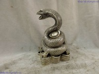 zhaomeirui68++6 China silver finely beautiful carved lucky wealth snake Sculpture Statue