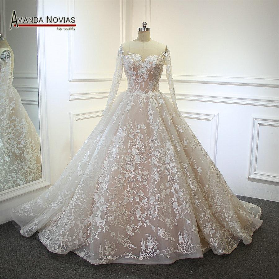 vestido de noiva Real Photos Amanda Noivas Luxury Ball Gown Unique Lace Wedding Dress 2019