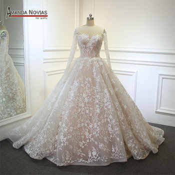 vestido de noiva Real Photos Amanda Noivas Luxury Ball Gown Unique Lace Wedding Dress 2019 - DISCOUNT ITEM  30% OFF Weddings & Events