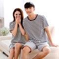 Verão novos amantes pijamas dos desenhos animados listra de manga curta Shorts Pajama Set 2016 mulheres novas dos homens de algodão puro casal pijamas Suit