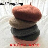 kukilonglong 2017 warm wool winter berets for women good quality gorras casquette for girls Pumpkin painter hat knitting caps