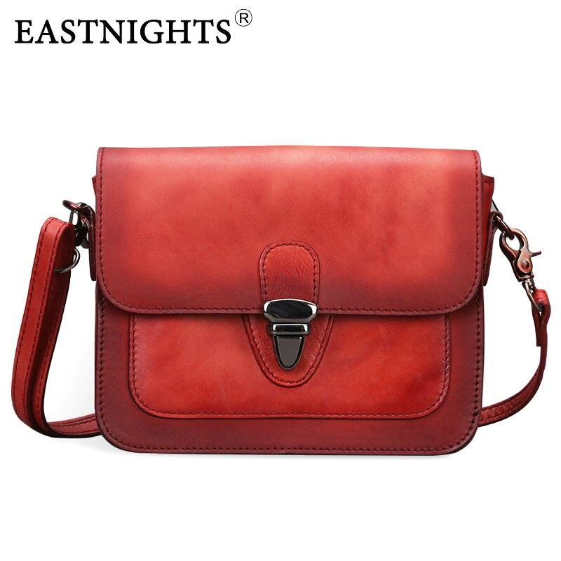 цена на EASTNIGHT New High Quality 100% Genuine Leather Women Handbags Famous Brand Crossbody Shoulder Messenger Bags Vintage TW2815