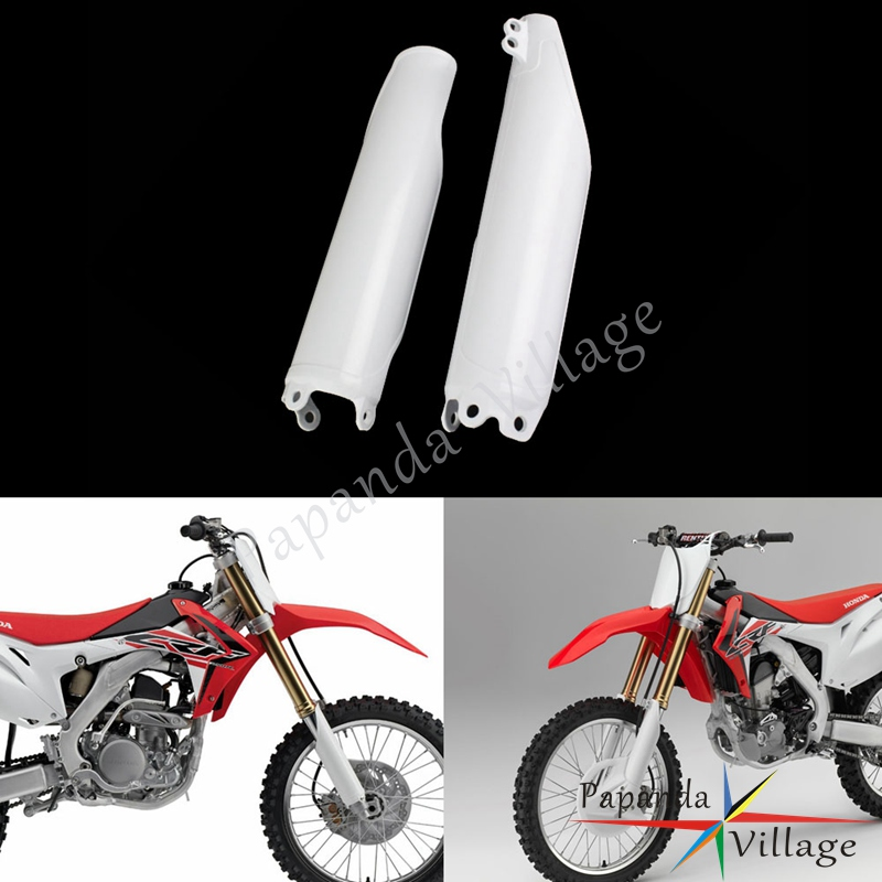 White Supermoto Front Fork Guard for Honda CR <font><b>CRF</b></font> 125 250 <font><b>450</b></font> 500 R X Fork Tube Cover Frame Protection 1993-2018 CRF450 CRF250 image