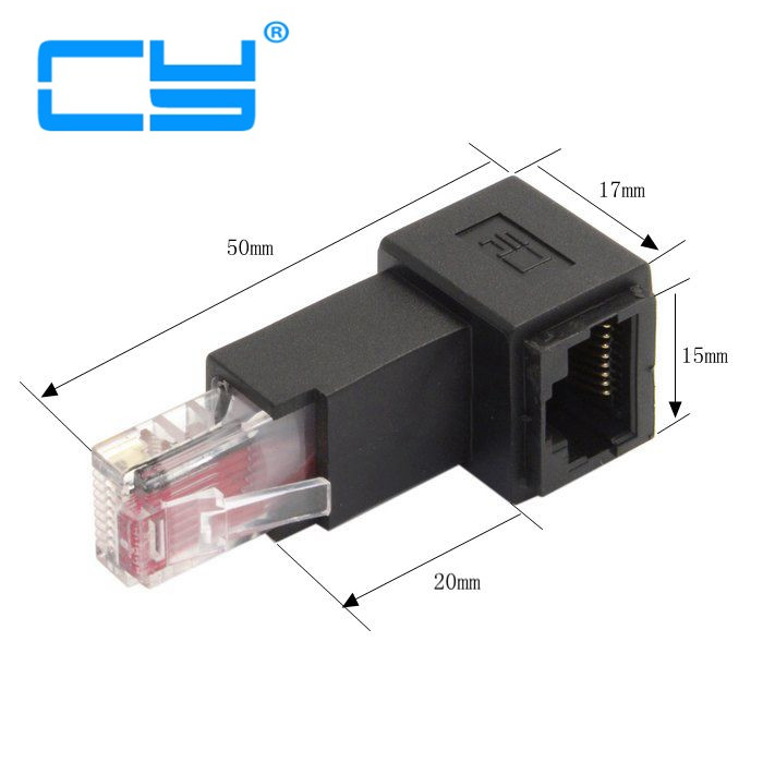Multi-angle RJ45 Up Down Right Left Angled 8P8C FTP STP UTP Cat 5e Male to Female Lan Ethernet Network Extension Adapter Angle