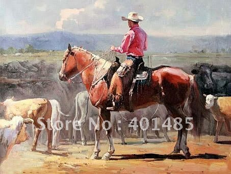 Us 49 99 Free Shipping 100 Handcraftsart Oil Painting Cowboy Ridding Red Horse Cows 24x36 Inch In Painting Calligraphy From Home Garden On