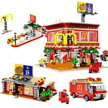 hot city creators Street view McDonald with led light Building Blocks MOC model mini Seller figures brick toys for children gift