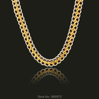 New Trendy Two Tone Chain Gold/Silver Plated 10MM 22 Inches Snake Chain Necklaces Jewelry Men