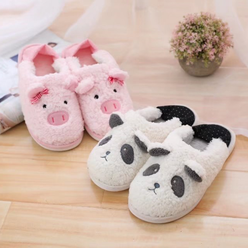 Millffy Women's Slippers Plush Footwarmer slipper home panda pig slippers cartoon lovers floor shoes eichholtz настольная лампа boxter