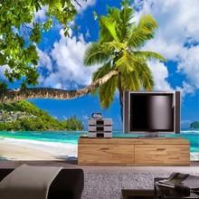 Купить с кэшбэком Custom 3 d ocean mural wallpaper TV setting papel DE parede beach scene 3 d wallpaper wallpaper images free shipping