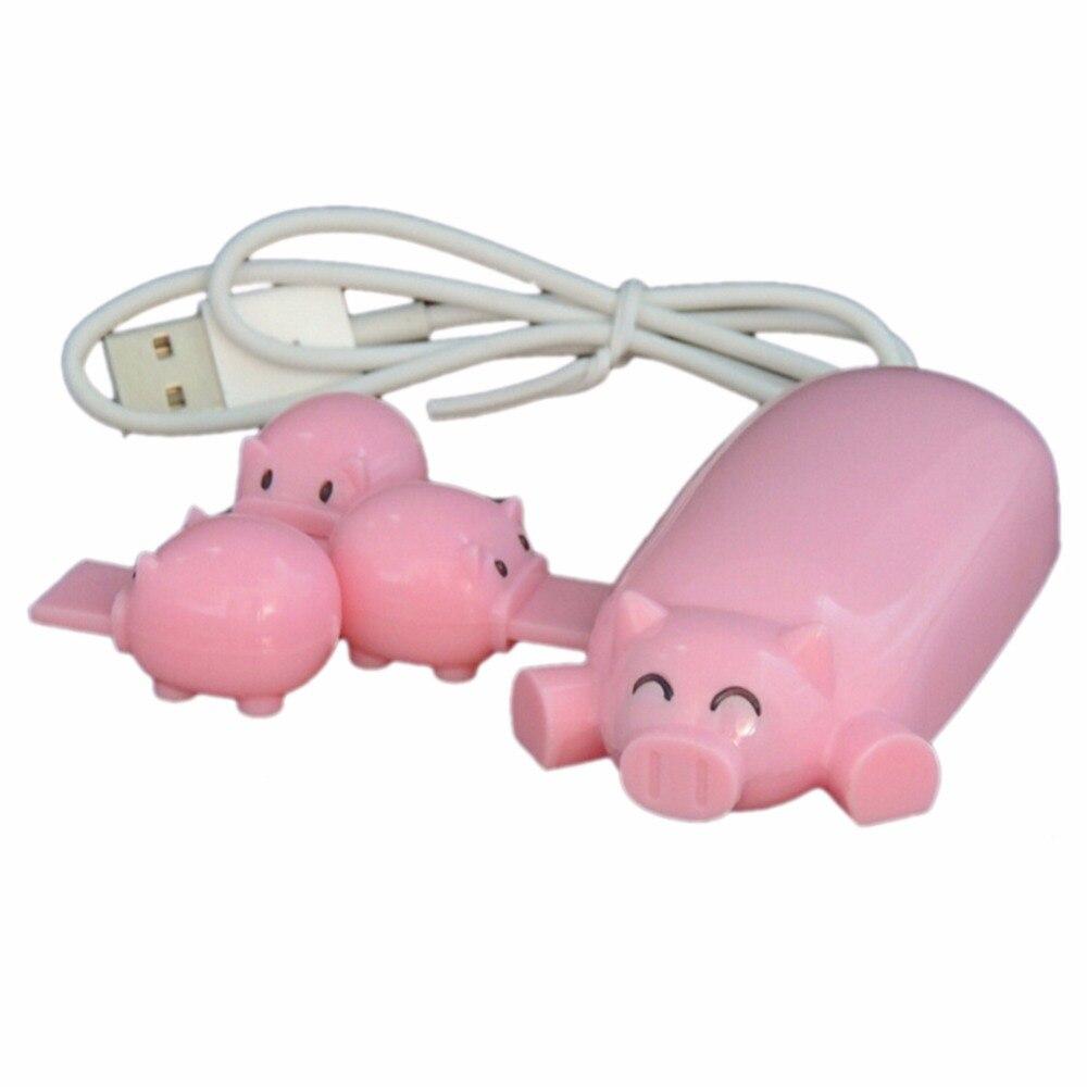 Nette 4 Schweine USB 2.0 HUB Externe 3 Port USB Ladegerät Datenkabel Mit Leuchtanzeige Für Laptop Computer PC Lade HUB Adapter