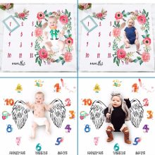 2018 Newborn Baby Milestone Blanket Photography Prop Background Monthly Growth Shooting Photo Bedding Wrap Swaddle 100x100cm(China)