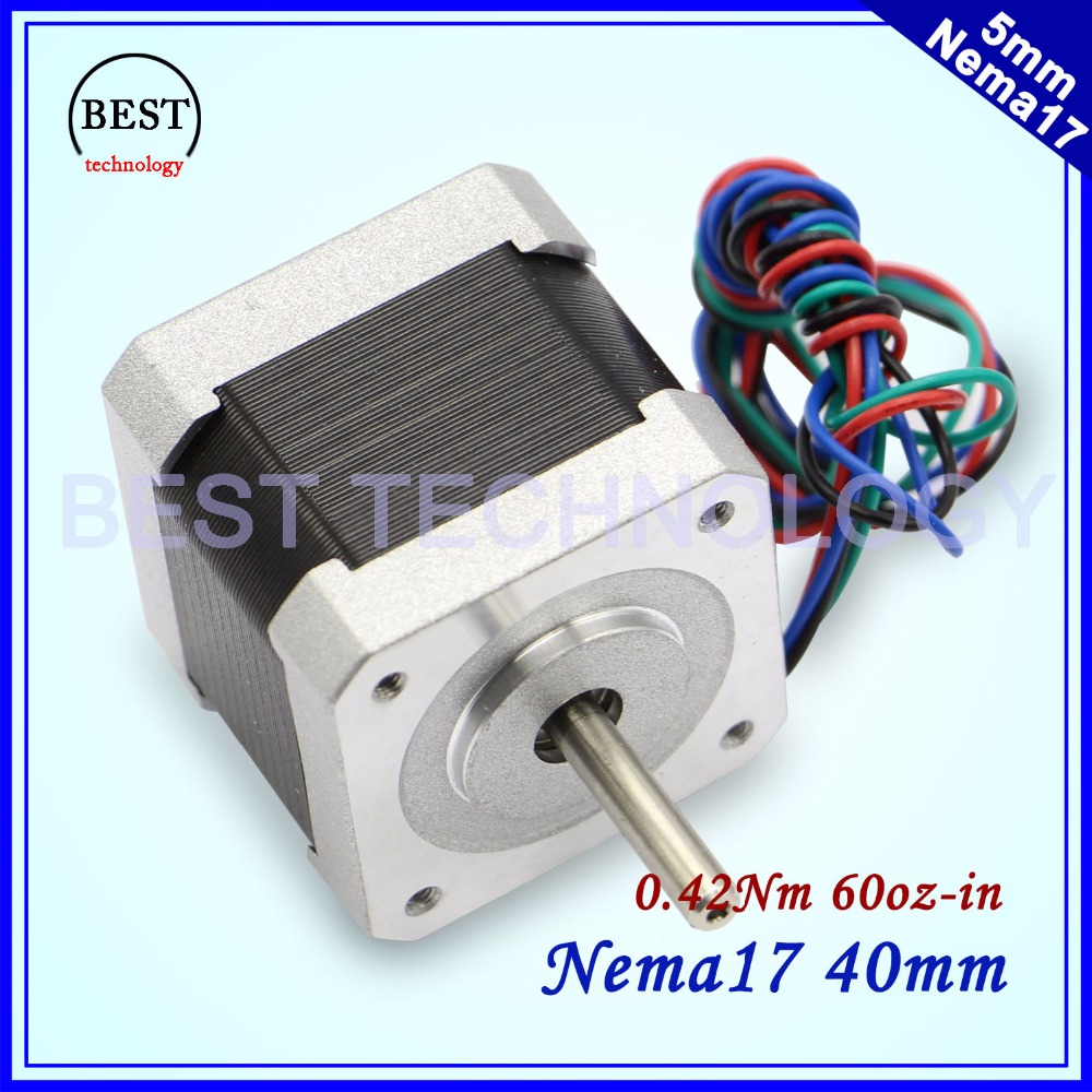 Free shipping <font><b>NEMA17</b></font> 42x40mm <font><b>1.7A</b></font> 4-lead 0.42N.m stepper motor 1.8deg 60Oz-in for 3D printer For CNC router machine image