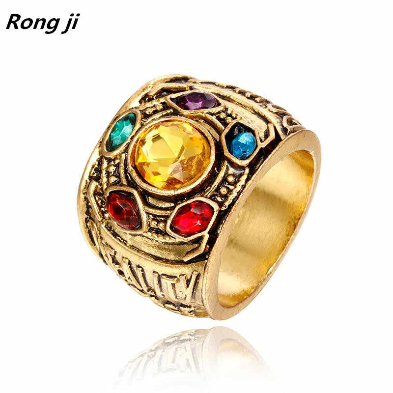 Dropshipping Marvel Avengers 4 thanos แหวน Iron Man ถุงมือ bague Homme anillos mujer ผู้หญิงเครื่องประดับคริสตัล