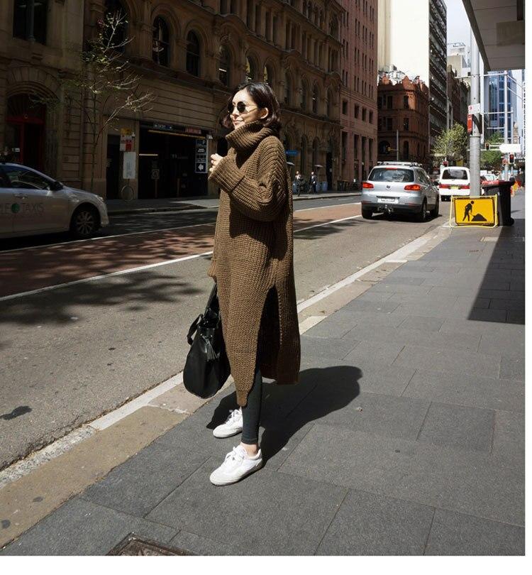 En Tailles Vêtements Nouveau 1 Couleurs Robe Fente Col Haut Un Printemps 2019 À Chandail Khaki Femmes Tricot w7C6qXX