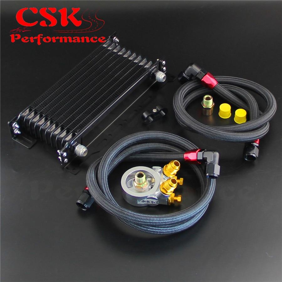 10 rangées refroidisseur D'huile w/Support + 176F/80 Degrés Thermostat Kit Adaptateur Pour Voiture Japon