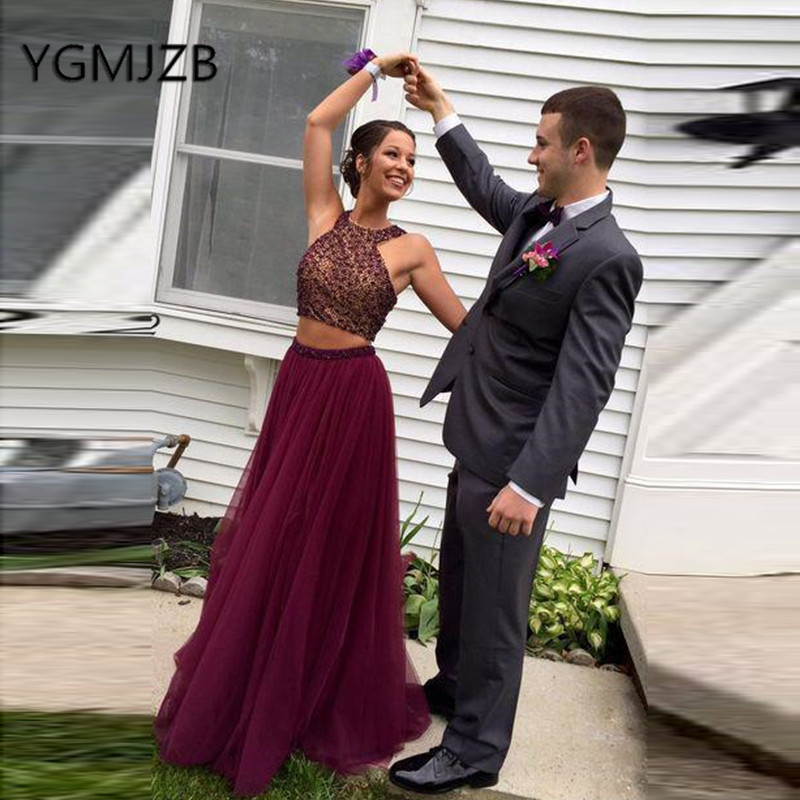 Burgundy Two Pieces Prom Dresses Long 2019 A Line Beaded Crystal Tulle Saudi Arabic Women Formal Evening Gown Party Dress