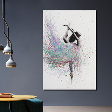 Modern Watercolor Ballet Dancer Dancing Poster Print Picture Home Bedroom Wall Art Graffiti Decorative Canvas Painting Custom