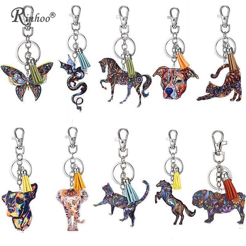 LLavero de acrílico con estampado de flores, mariposa, serpiente, caballo, gato, perro, cerdo, elefante, borlas, llaveros para mujer, llavero de animales