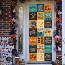 Halloween 77*200CM 3D Window Door sticker Trick or Treat/Kids Pumpkin removable decal door poster Holiday decor wall