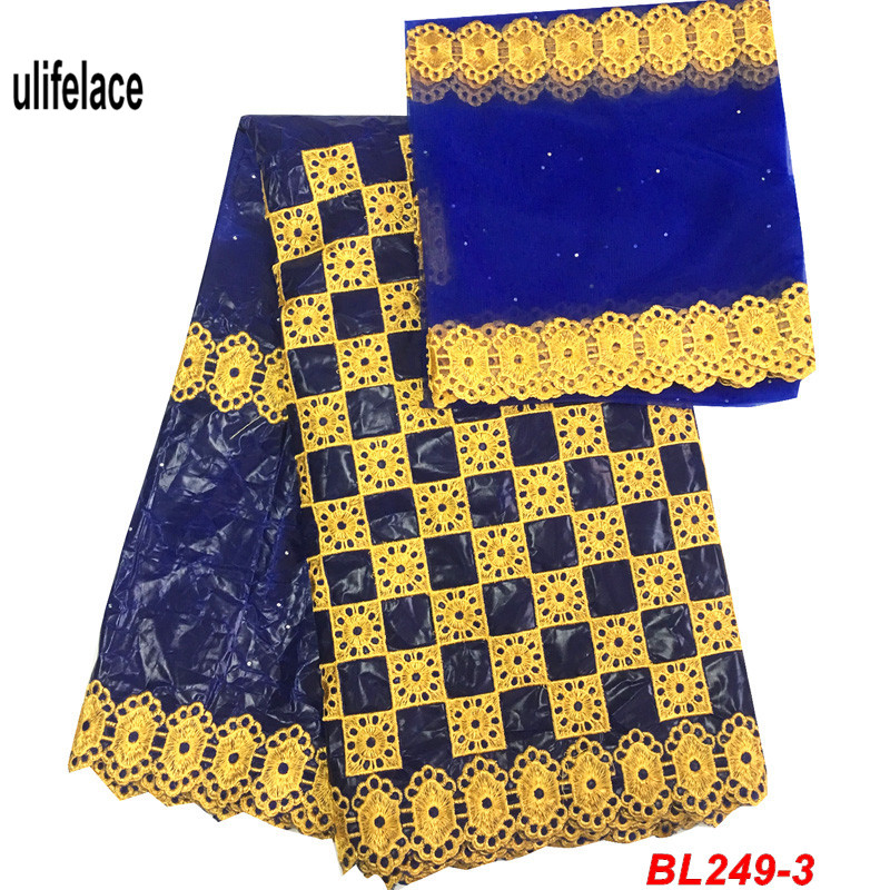 Royal blue Nigerian Bazin riche getzner guinea brocade fabric African Swiss Cotton high quality Bassin fabrics for dress BL-249