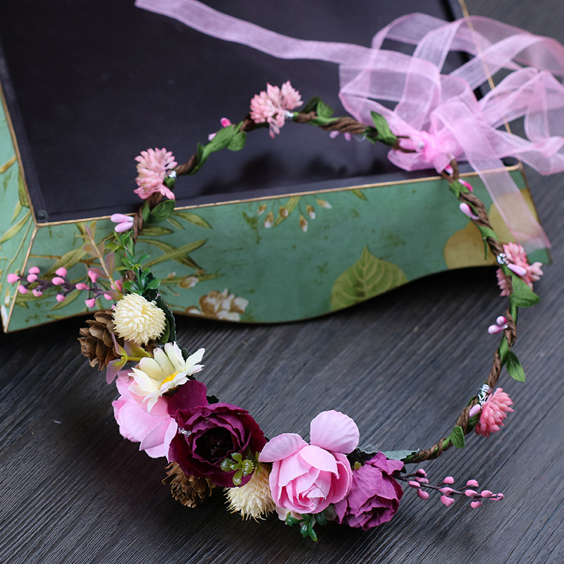 Forest Queen Garland 2019 New Beach Photography Garland Bridal Headdress Sweet Cute Flower Girl Bridesmaid Headdress For Wedding