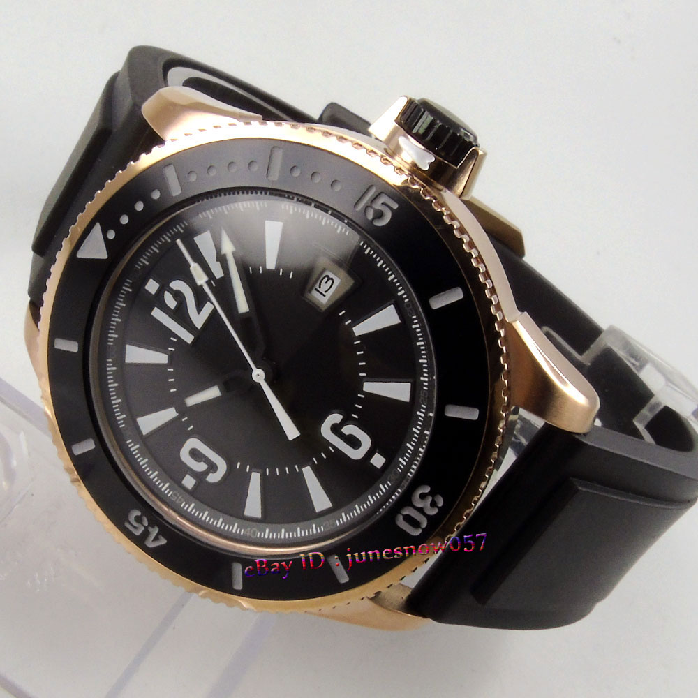 лучшая цена BLIGER 43mm black dial date luminous ceramic bezel gold case rubber strap MIYOTA Automatic men's watch