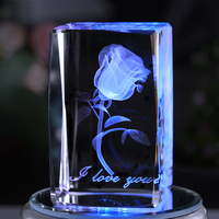 Crystal rose luminous carving ornaments creative wedding anniversary gift to send his girlfriend wife custom gift