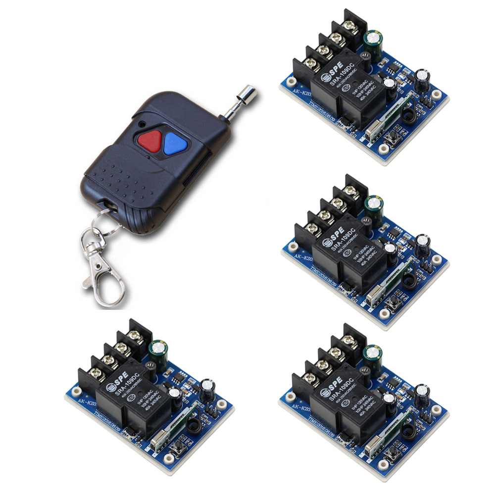DC 12V-48V Relay Receiver 40A 24V 36V Remote Control Switch Learning Code Remote Transmitter Wireless Remote Switch 315Mhz remote control switches dc 12v 2ch receiver long range remote control transmitter 50 1000m 315 433 rx tx 2ch relay learning code