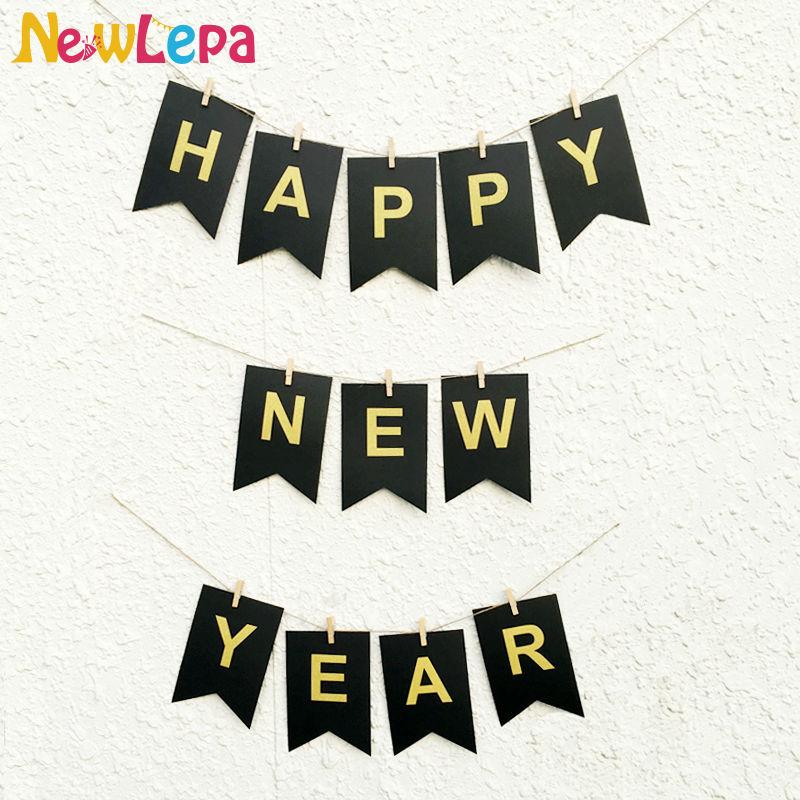 DIY Feliz Año Nuevo Garland Photo Booth Banner String Flag - Para fiestas y celebraciones - foto 1