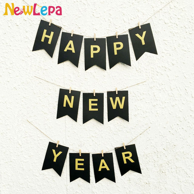 diy happy new year garland photo booth banner string flag accesorios party decoration with gold sticker
