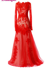 KapokBanyan Real Photo Red Lace Prom Dresses 2017 Fashion Long Sleeve Appliques Scoop Formal Party Dress Robe de soiree Custom