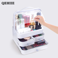 High end cosmetic case transparent waterproof beautician ABS engineering plastics cosmetic storage box travel organizer case