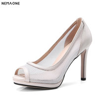 NEMAONE New breathable women shoes peep toe high heels women pumps ladies dress shoes large size 34-43