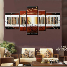 Handpainted 5 pieces modern abstract wall art oil painting on canvas large brown picture for living room as unique gift