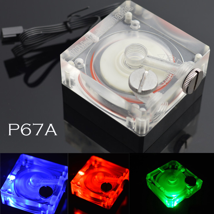 "Black G1/4"" SuperPlayer P67A super silent computer case water cooling pump pwm 12v rgb light with water plug"