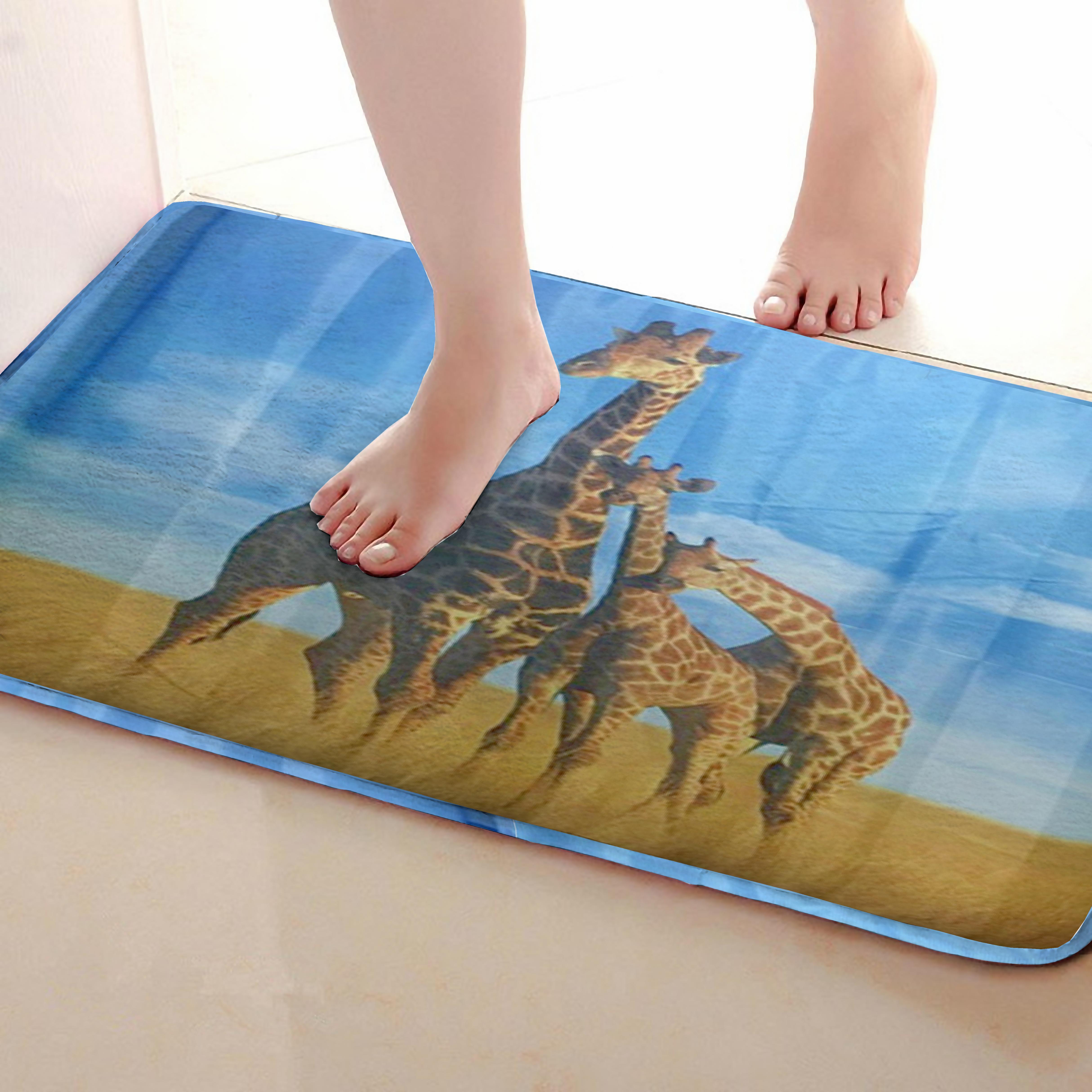 Giraffe Style Bathroom Mat,Funny Anti Skid Bath Mat,Shower Curtains Accessories,Matching Your Shower Curtain