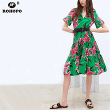 ROHOPO Butterfly Short Sleeve High Low Women Midi Dress Flared Pleated Patchwork Multiways Ladies Accordion Dress #AZ9301 pleated panel high low dress