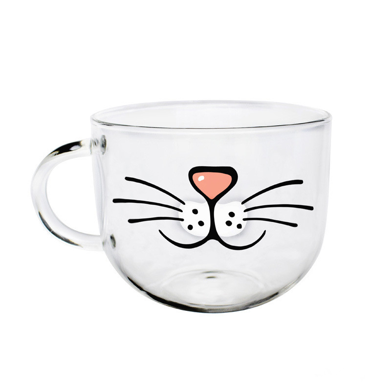 Cat Face Coffee Tea Glass Mug