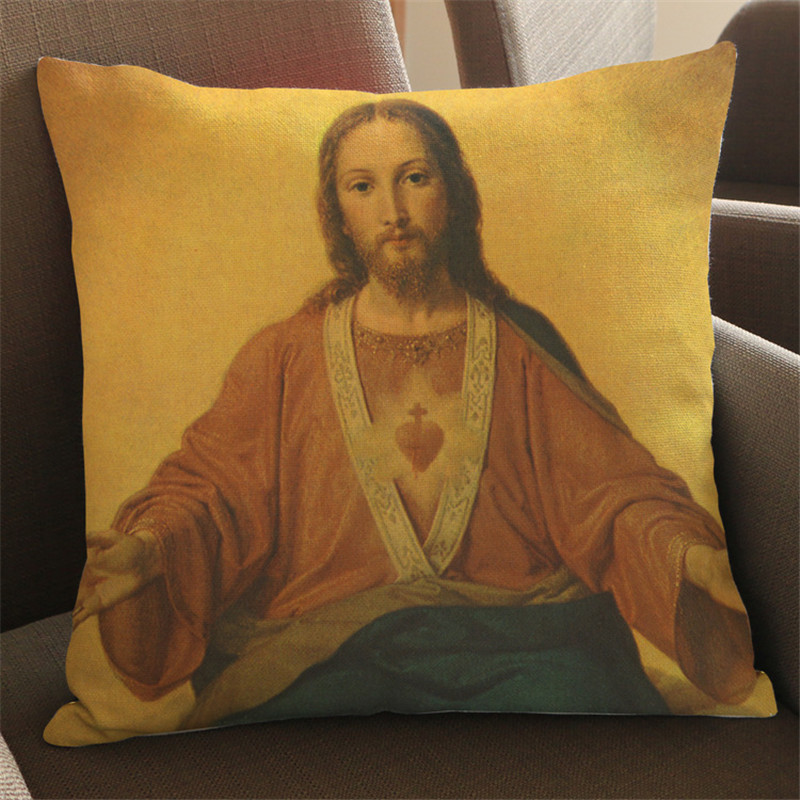 Religion Jesus Christ Christian Cross Square Custom Design Invisible Zippered Throw Pillow Case for friend gift home decoration ...