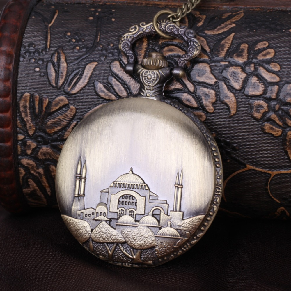 8027   Islamic Castle Unique Pocket Watch Bronze Engraved Design Exquisite Casual Men Women Fob Fashion Gift Chain Pedant