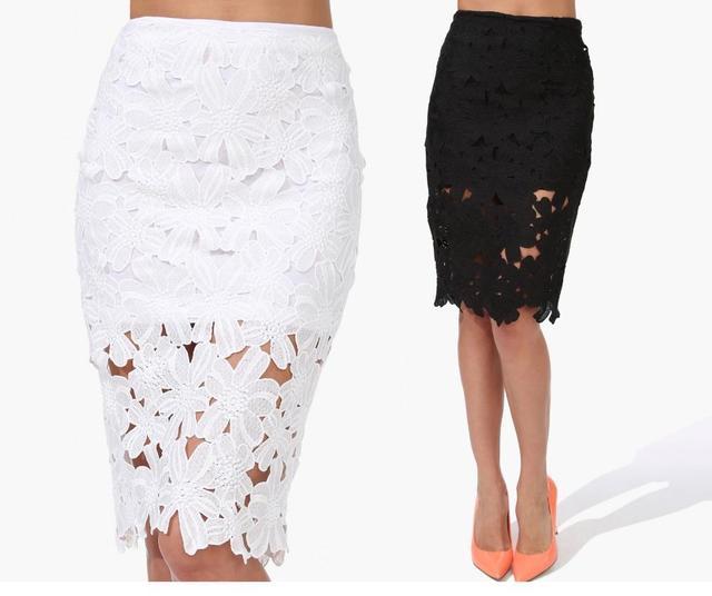 9c5ecd9b29831 2016 new saias femininas vintage black white Crochet Pencil Skirt Midi  Skirts Womens roupas femininas faldas female short skirts