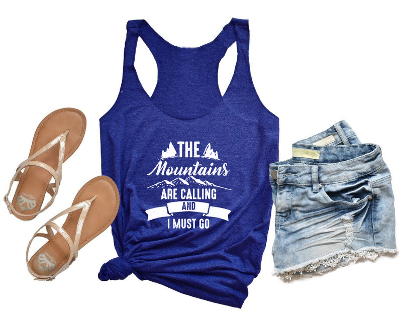 Vest The Mountains are Calling and I Must Gog   Tank     Tops   Funny Letter Racerback Slogan Graphic Women Sexy Sleeveless Vest shirts