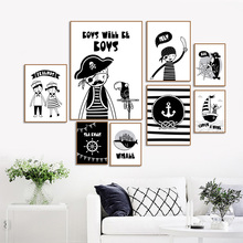 Pirate Captain Boy Whale Fox Wall Art Canvas Painting Black White Cartoon Nordic Posters And Prints Pictures For Kids Room